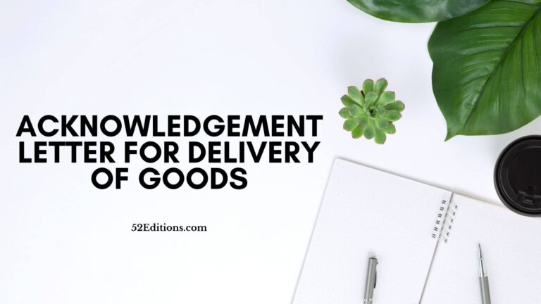 Acknowledgement Letter For Delivery Of Goods