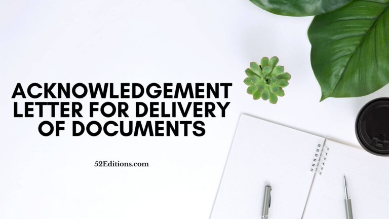 Acknowledgement Letter For Delivery of Documents