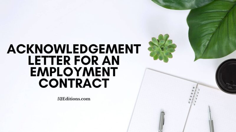 Acknowledgement Letter For an Employment Contract