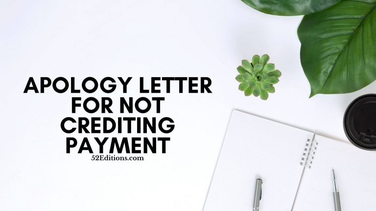Apology Letter For Not Crediting Payment