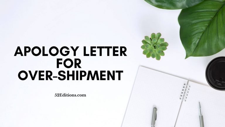Apology Letter For Over-shipment