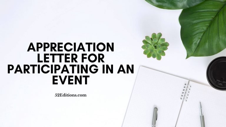 Appreciation Letter For Participating In An Event