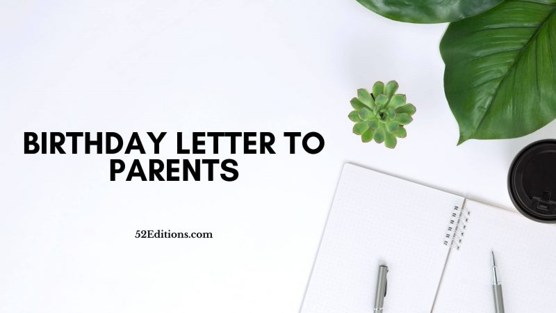 Birthday Letter To Parents
