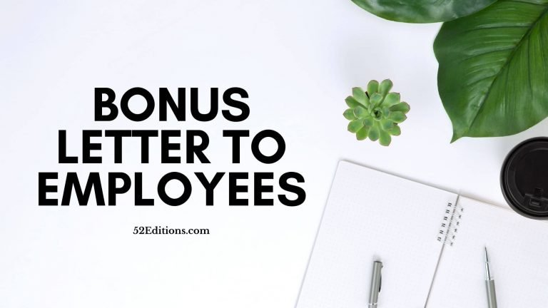Bonus Letter To Employees