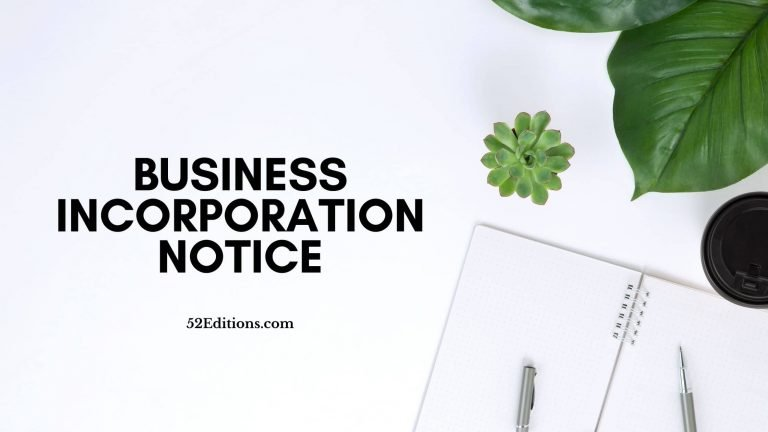 Business Incorporation Notice Letter