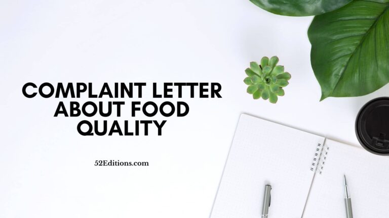 Complaint Letter About Food Quality