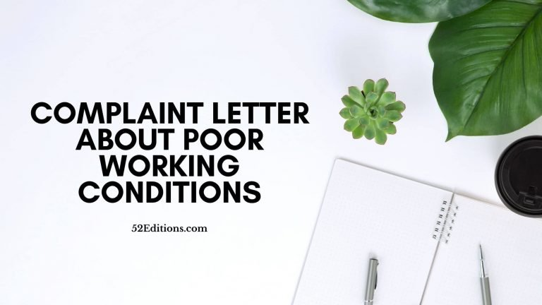 Complaint Letter About Poor Working Conditions