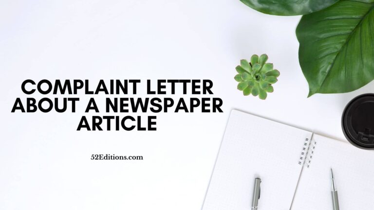 Complaint Letter About a Newspaper Article