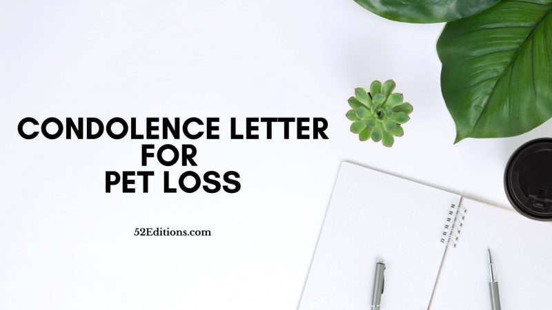Condolence Letter For Pet Loss