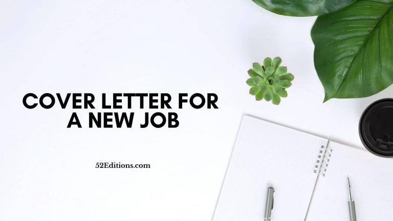 Cover Letter For a New Job
