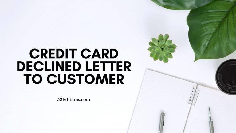 Credit Card Declined Letter To Customer