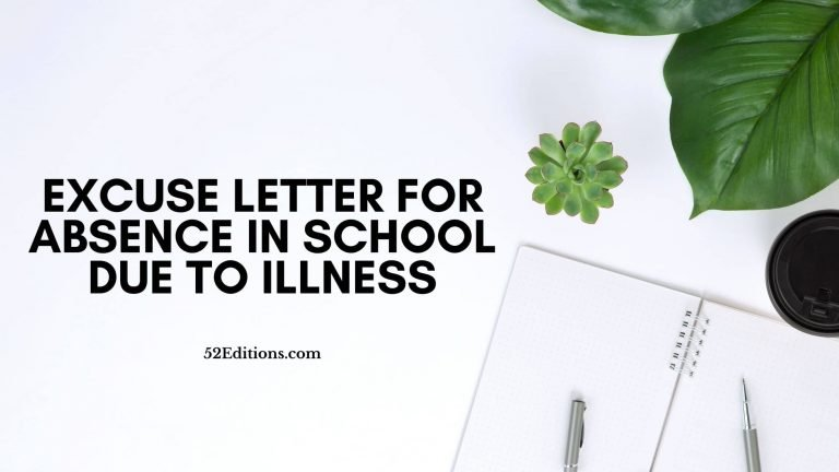 Excuse Letter For Absence in School Due To Illness