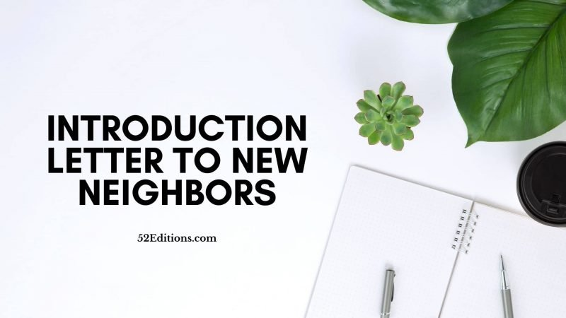 Introduction Letter To New Neighbors