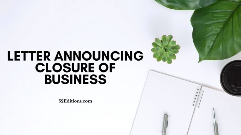Letter Announcing Closure of Business