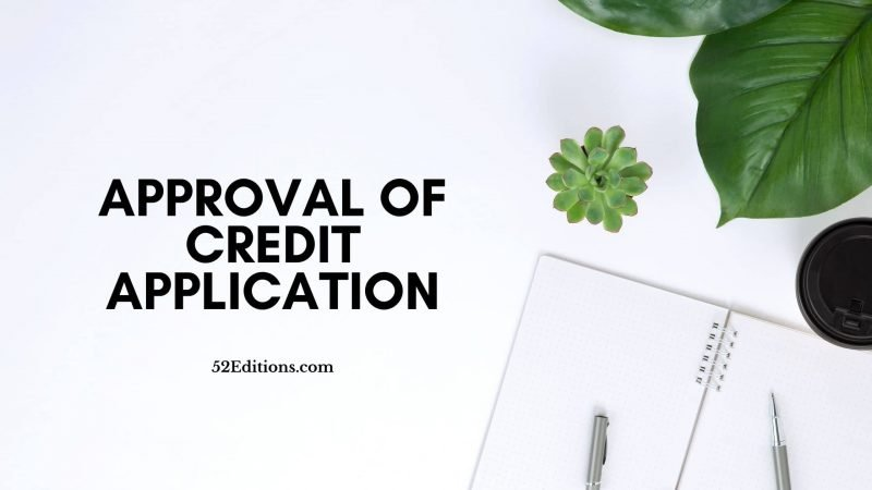Letter For Approval of Credit Application