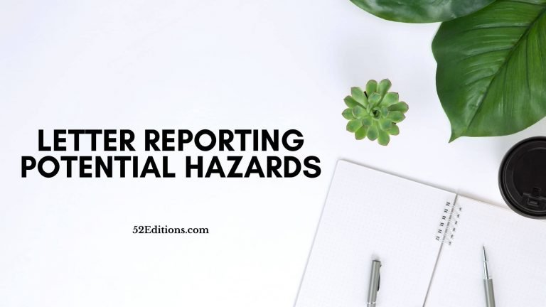 Letter Reporting Potential Hazards