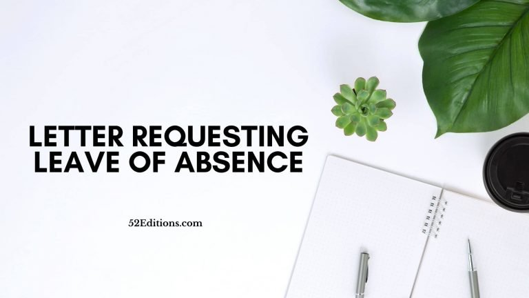 Letter Requesting Leave of Absence