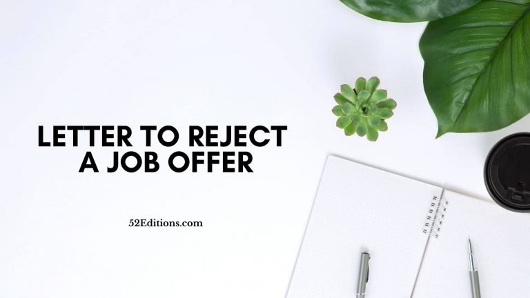 Letter To Reject a Job Offer
