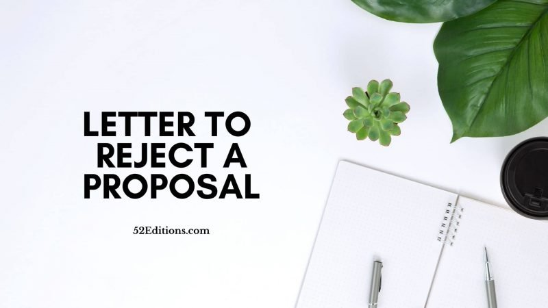 Letter To Reject a Proposal