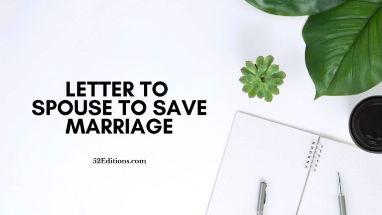 Letter To Spouse To Save Marriage