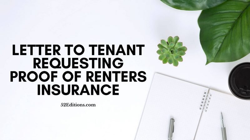 Letter To Tenant Requesting Proof of Renters Insurance