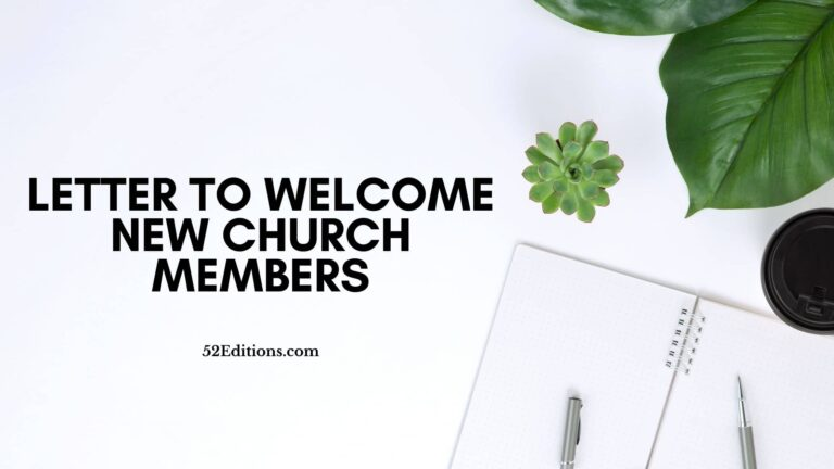 Letter To Welcome New Church Members