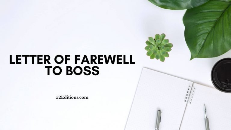 Letter of Farewell To Boss