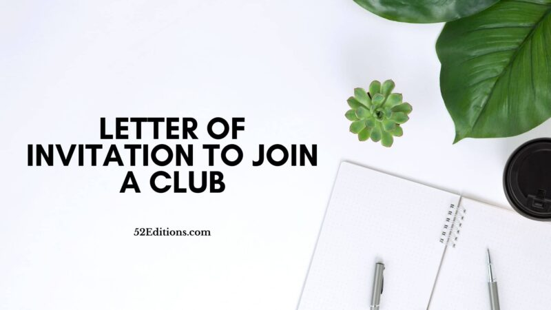 Letter of Invitation To Join a Club