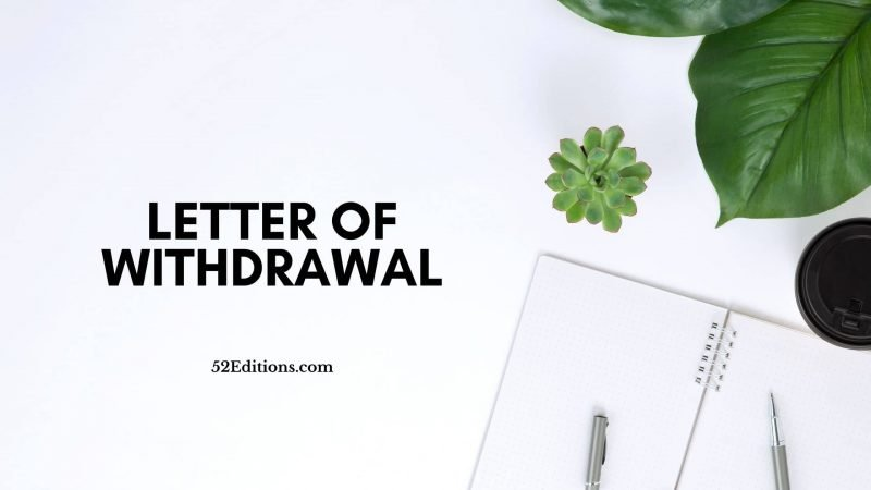Letter of Withdrawal