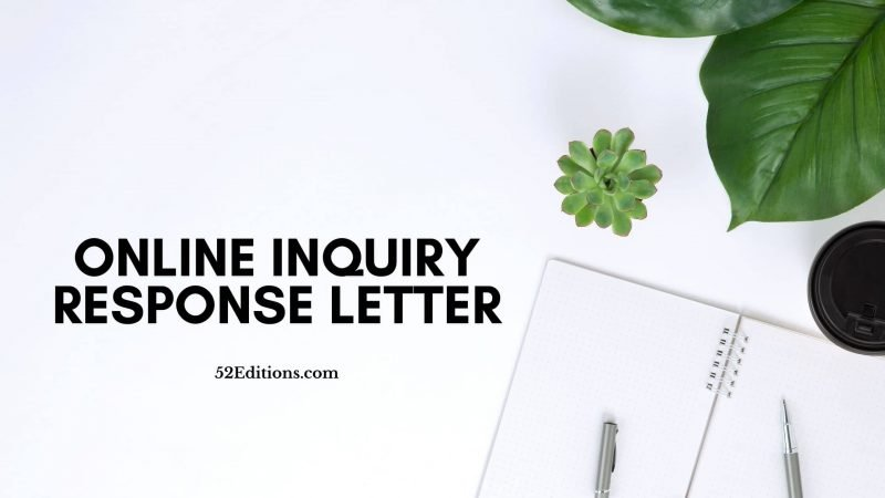 Online Inquiry Response Letter