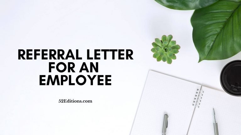 Referral Letter For An Employee