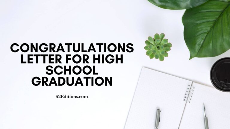 Sample Congratulations Letter For High School Graduation