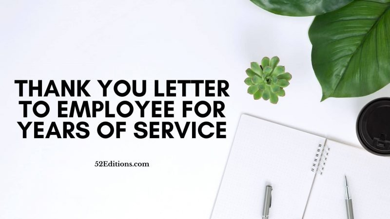 Thank You Letter To Employee For Years of Service