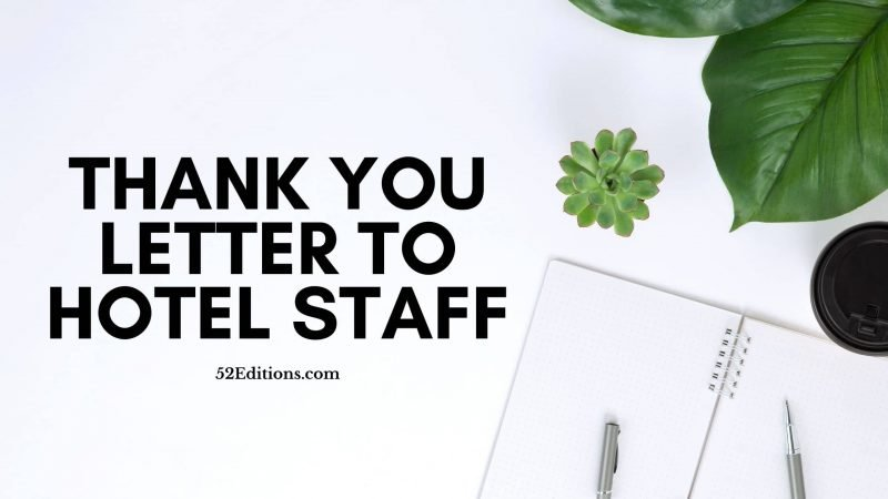 Thank You Letter To Hotel For Hospitality