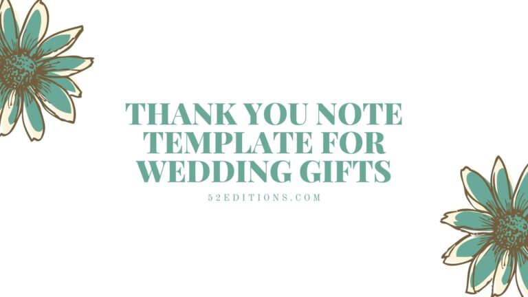 Thank You Note Template For Wedding Gifts