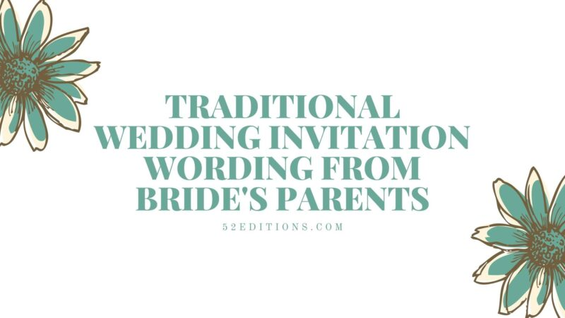 Traditional Wedding Invitation Wording From Bride's Parents