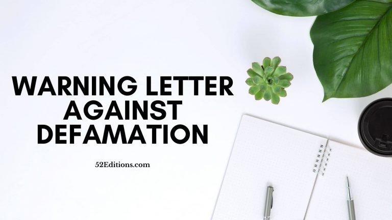 Warning Letter Against Defamation