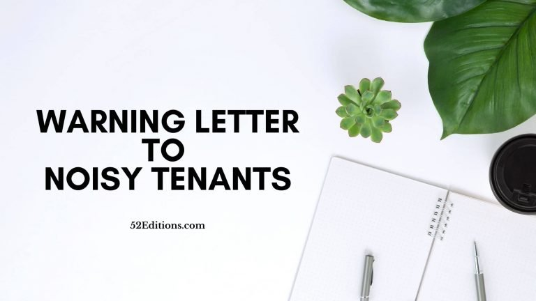 Warning Letter To Noisy Tenants