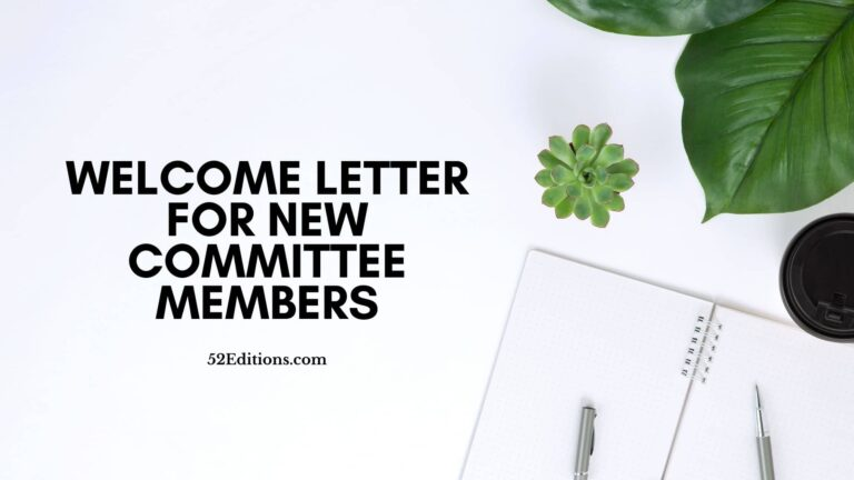 Welcome Letter For New Committee Members