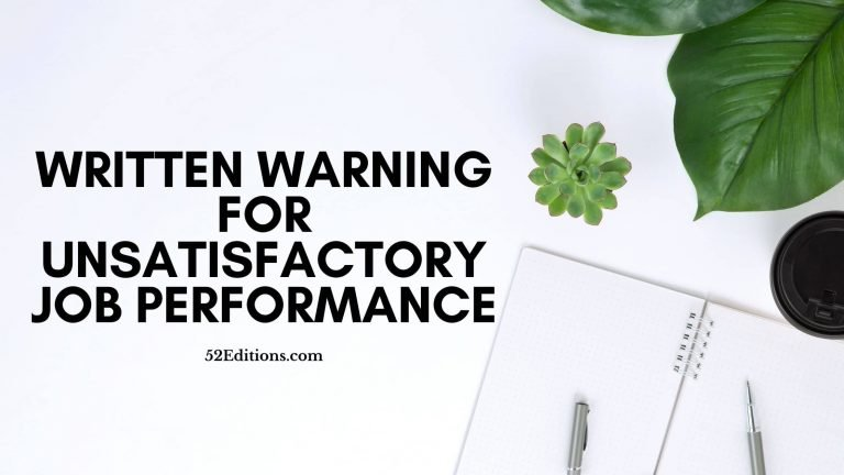 Written Warning For Unsatisfactory Job Performance