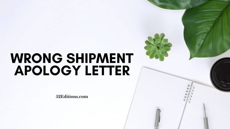 Wrong Shipment Apology Letter