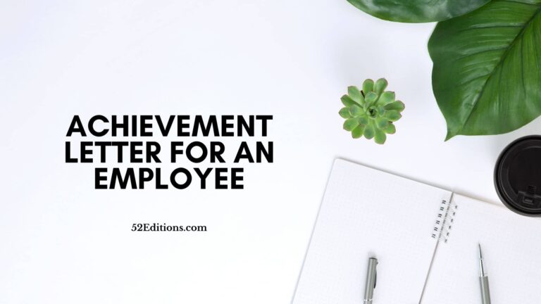 Achievement Letter For an Employee