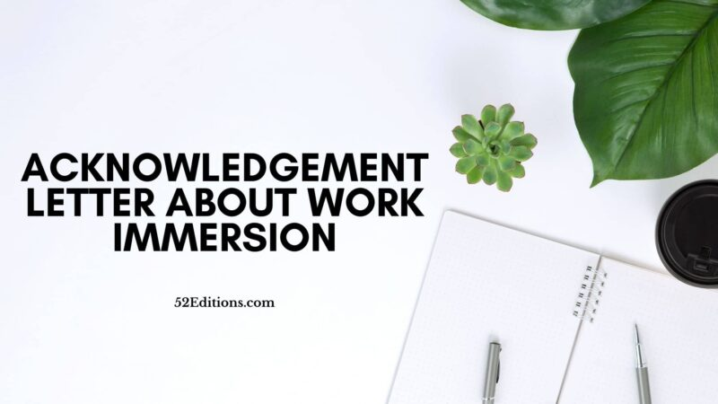 Acknowledgement Letter About Work Immersion