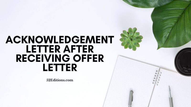 Acknowledgement Letter After Receiving Offer Letter