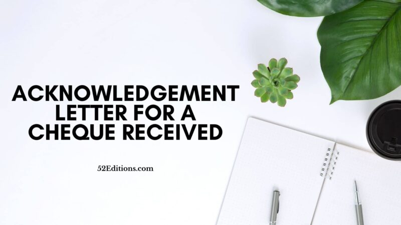 Acknowledgement Letter For A Cheque Received