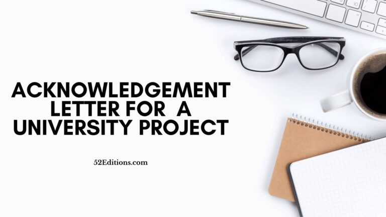 Acknowledgement Letter For A University Project