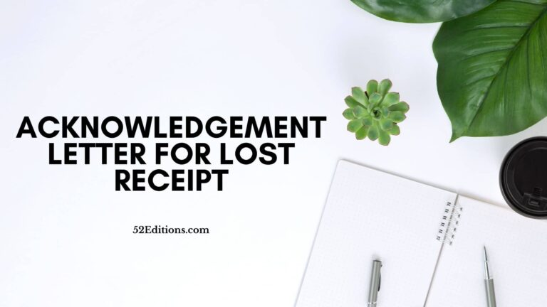 Acknowledgement Letter For Lost Receipt