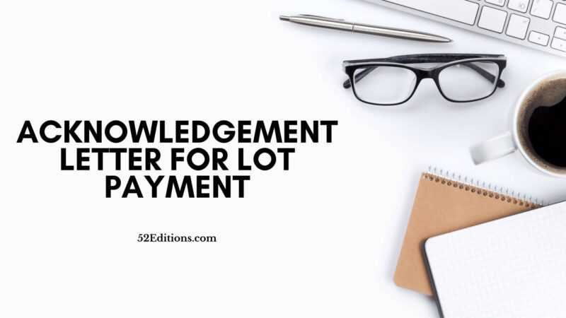 Acknowledgement Letter For Lot Payment