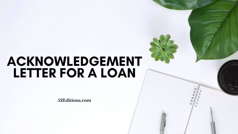 Acknowledgement Letter For a Loan