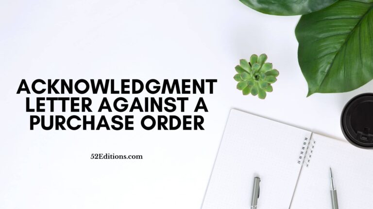 Acknowledgment Letter Against a Purchase Order